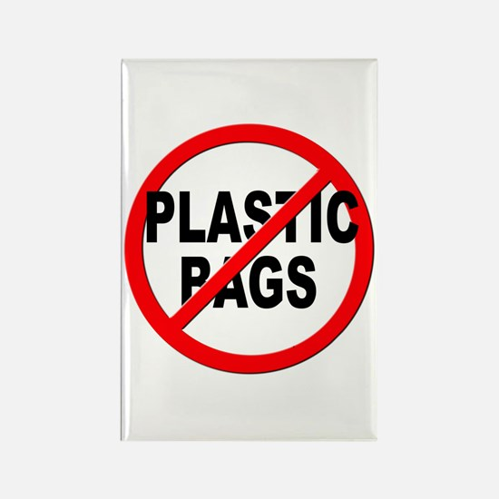 Anti / No Plastic Bags Rectangle Magnet (100 pack)