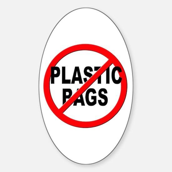 Anti / No Plastic Bags Sticker (Oval)