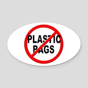 Anti / No Plastic Bags Oval Car Magnet