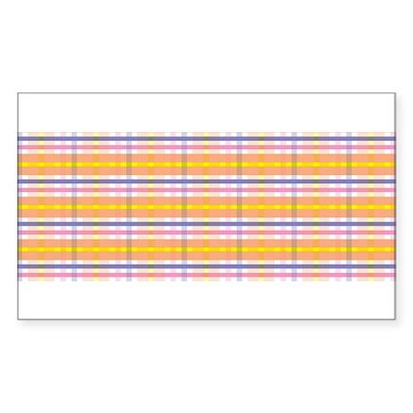 orange plaid Sticker (Rectangle)