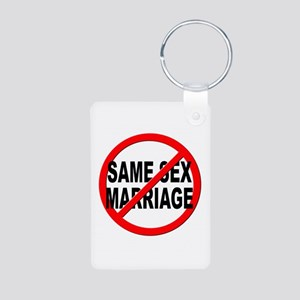 Anti / No Same Sex Marriage Aluminum Photo Keychai