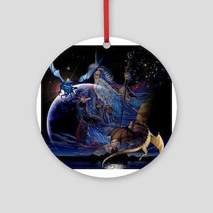 Wizzard & Dragon Ornament (Round)