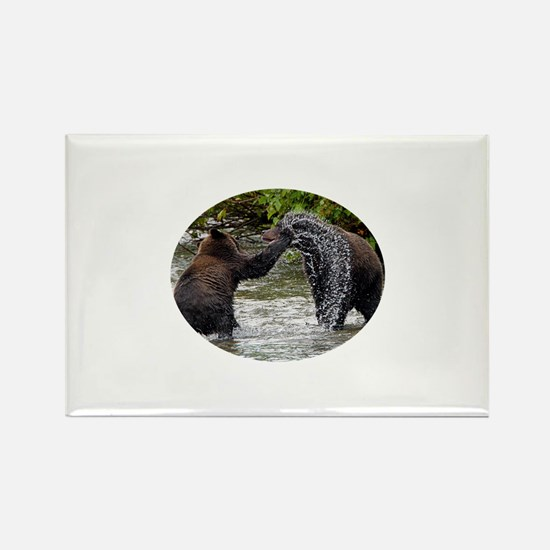 Grizzly Bear Cubs Playing Rectangle Magnet
