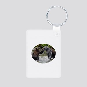 Grizzly Bear Cubs Playing Aluminum Photo Keychain