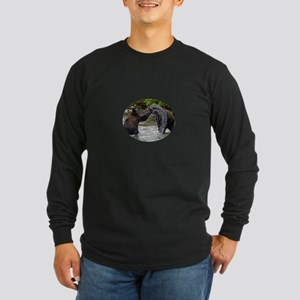 Grizzly Bear Cubs Playing Long Sleeve Dark T-Shirt