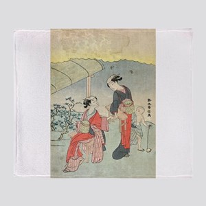 Gathering tea leaves - Harunobu Suzuki - 1770 Thro