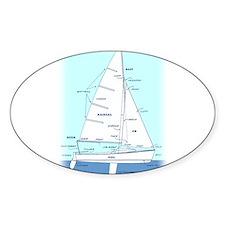 SAILBOAT DIAGRAM (technical design) Sticker (Oval)