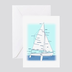 SAILBOAT DIAGRAM (technical design) Greeting Card