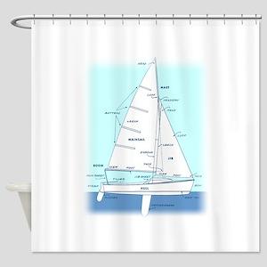 SAILBOAT DIAGRAM (technical design) Shower Curtain