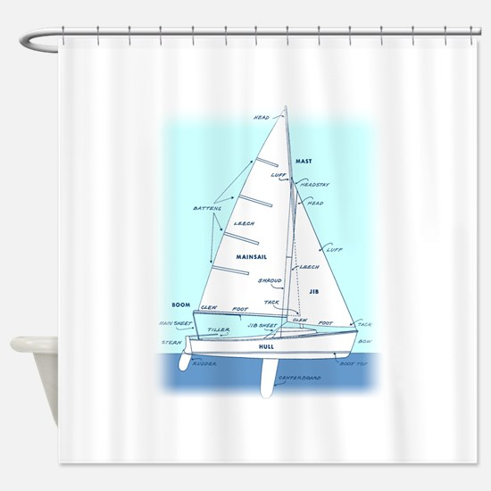 SAILBOAT DIAGRAM (technical design) Shower Curtain