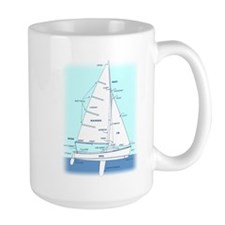 SAILBOAT DIAGRAM (technical design) Large Mug