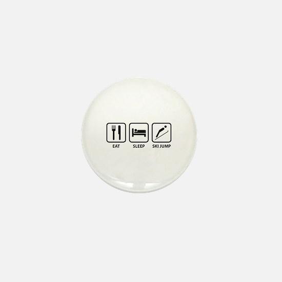 Eat Sleep Ski Jump Mini Button
