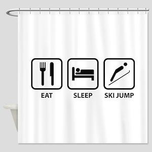 Eat Sleep Ski Jump Shower Curtain