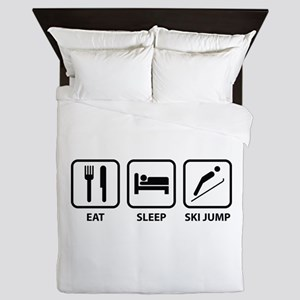Eat Sleep Ski Jump Queen Duvet