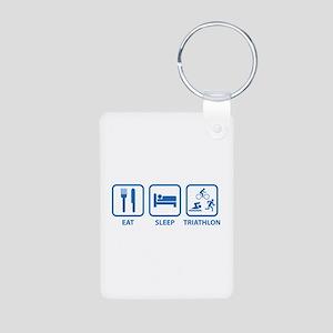 Eat Sleep Triathlon Aluminum Photo Keychain