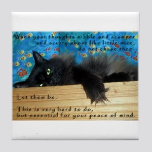 Nibbling Thoughts Black Cat Tile Coaster