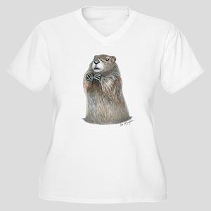 emerging groundhog Women's Plus Size V-Neck T-Shir