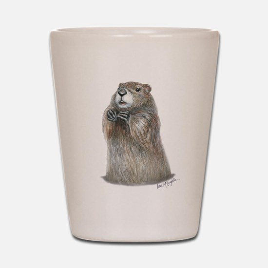 emerging groundhog Shot Glass
