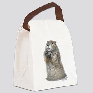 emerging groundhog Canvas Lunch Bag