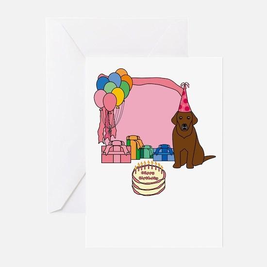 Chocolate Lab Fetch a Happy Birthday Cards (Pink)