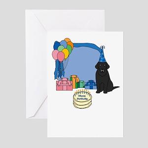 Black Lab Fetch a Happy Birthday Cards (Blue)