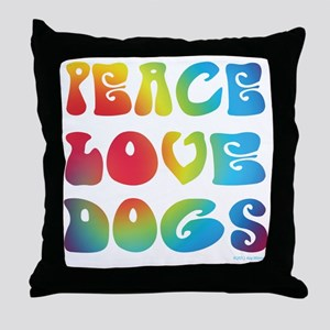 Peace Love Dogs Tiedye Throw Pillow