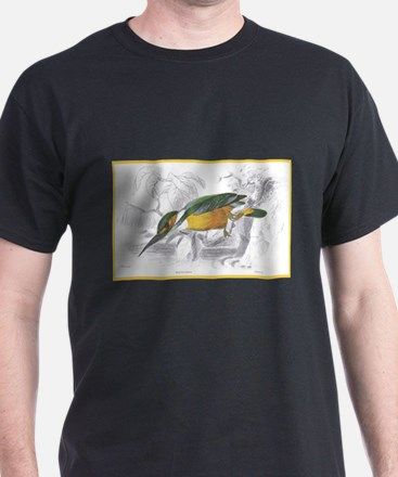 Kingfisher Bird (Front) Black T-Shirt