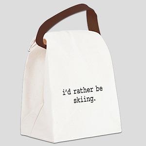 idratherbeskiingblk Canvas Lunch Bag