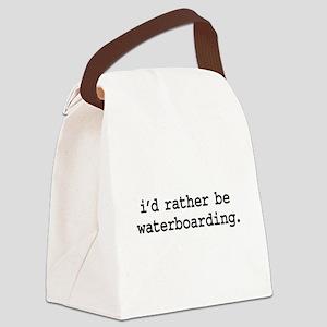 idratherbewaterboardingblk Canvas Lunch Bag