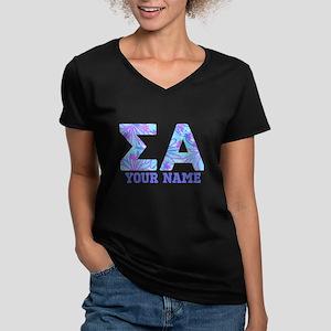 Sigma Alpha Tropical P Women's V-Neck Dark T-Shirt