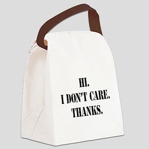 idontcarestencilblk Canvas Lunch Bag