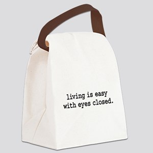 livingiseasywitheyesclosedblk Canvas Lunch Bag