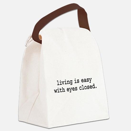 livingiseasywitheyesclosedblk.png Canvas Lunch Bag