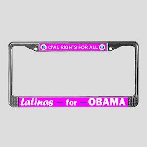 Latinas for Obama Pink License Plate Frame