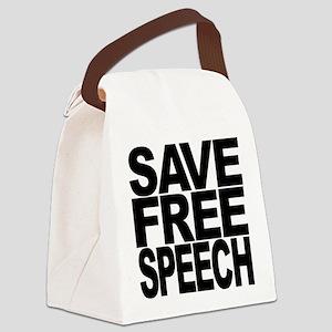 savefreespeechblockblk Canvas Lunch Bag