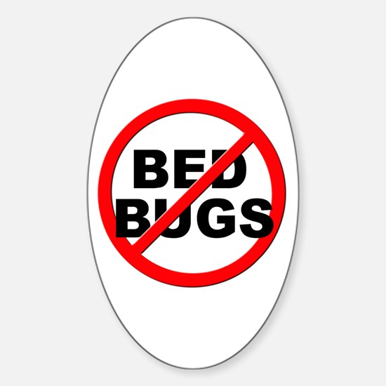 Anti / No Bed Bugs Sticker (Oval)