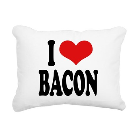 ilovebaconblk Rectangular Canvas Pillow