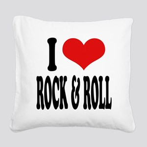 iloverockandrollblk Square Canvas Pillow