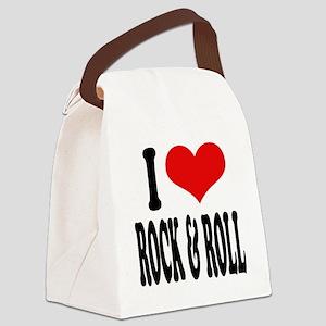 iloverockandrollblk Canvas Lunch Bag