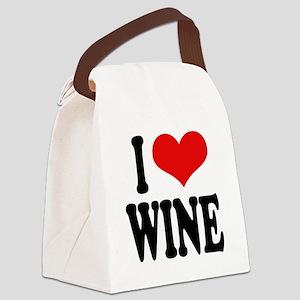 ilovewineblk Canvas Lunch Bag