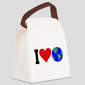 4-3-iloveearthblk Canvas Lunch Bag