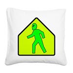 aliencrossingblk Square Canvas Pillow