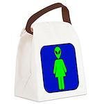 alienladiesroomblk Canvas Lunch Bag