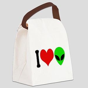 ilovealiensblk Canvas Lunch Bag
