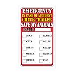 emergency pet accident s Sticker (Rectangle 10 pk)