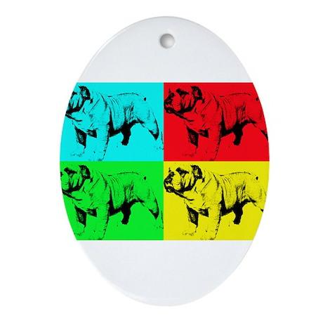 Pop Bulldog2 Ornament (Oval)
