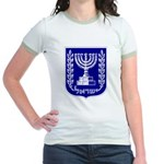 Israel Coat of Arms Jr. Ringer T-Shirt