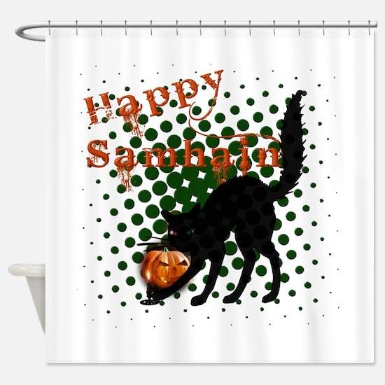 Happy Samhain Cat.png Shower Curtain