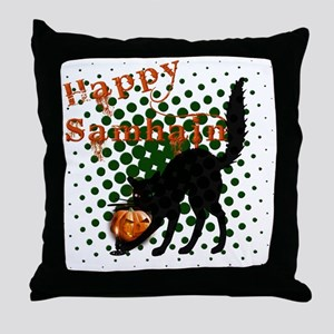 Happy Samhain Cat Throw Pillow