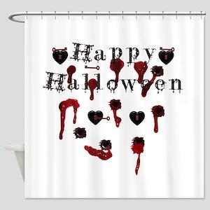 Happy Halloween gunbloodshot Shower Curtain